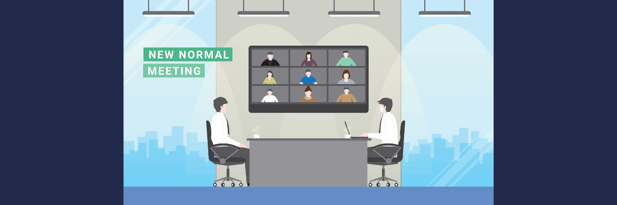 av solutions blog image featuring two cartoon people working in a room with a video conference on a TV in the background